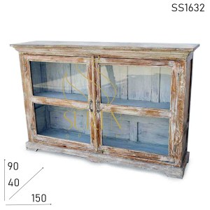 SS1632 Suren Space White Distress Old Home Glass Cabinet Design
