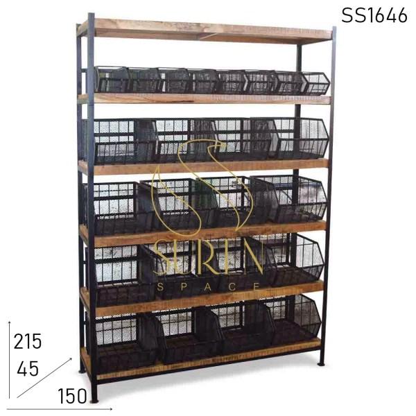 SS1646 Suren Space Metal Mesh Industrial Kitchen Cabinet