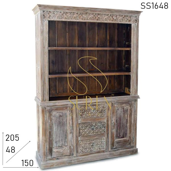 SS1648 Suren Space Carved Design Distress Finish Hutch Cabinet
