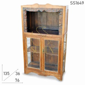 SS1649 Suren Space Old Teak Wood Carved Glass Door Bookcase