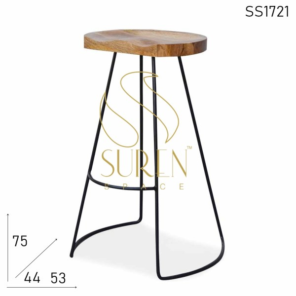 SS1721 SUREN SPACE Bent Metal Indian Solid Wood Curved Seat Bar Stool