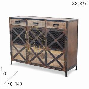 SS1879 Suren Space Rustic Mesh Design Solida Legno Industriale Credenza