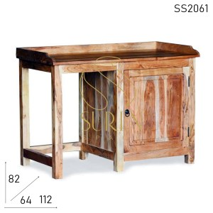 SS2061 Suren Space Natural Acacia Wood Study Table Cum Fridge Cabinet