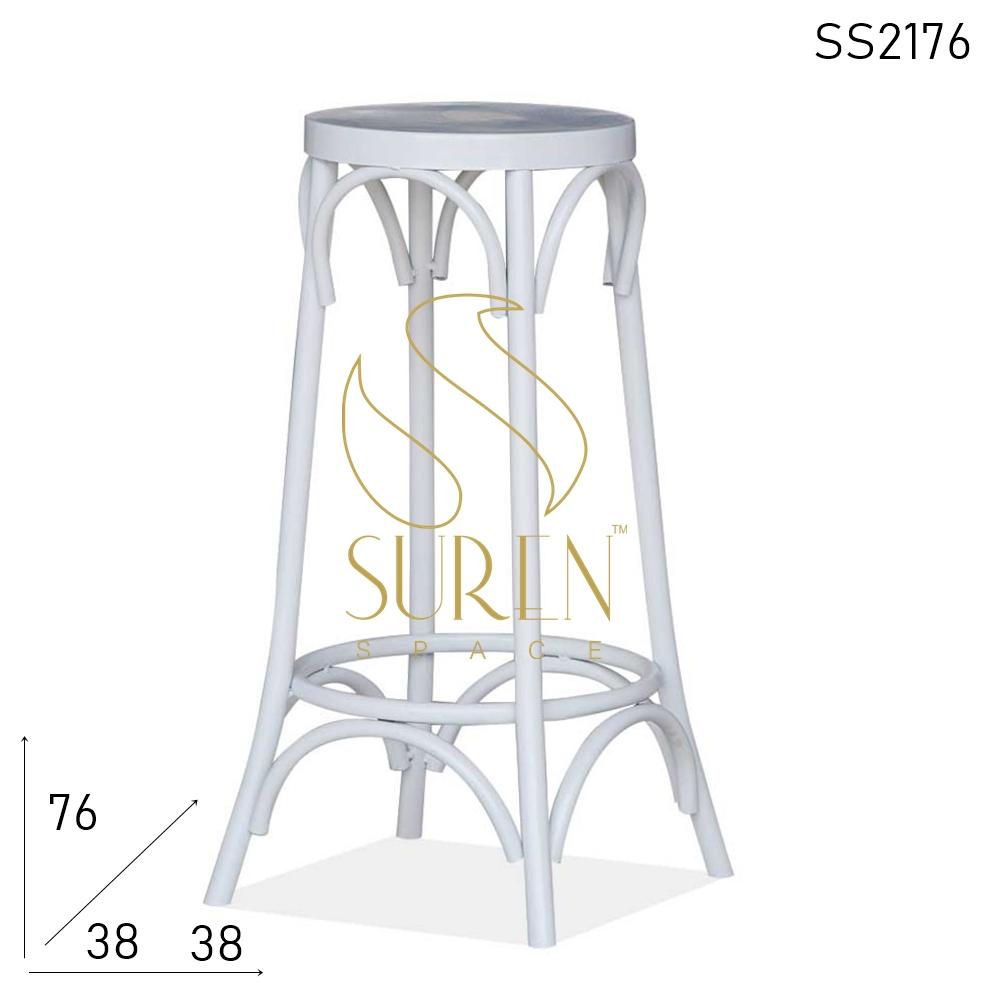SS2176 SUREN SPACE Wit Gebogen Metaal Modern Industrieel Barkruk