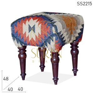 SS2215 Suren Space Hand Printed Rich Design Indian Pouf Stool Design