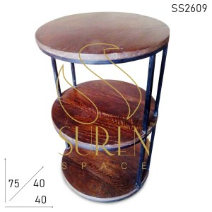 SS2609 Suren Space Round Wooden Top Industrial End Table