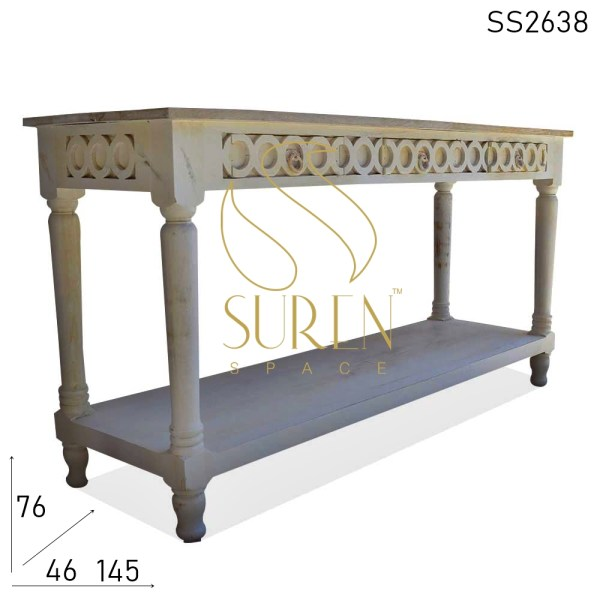 SS2638 Suren Space Hand Carved White Distress Console Table Design
