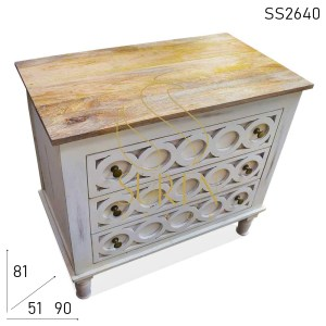 SS2640 Suren Space Three Drawer Hand Carved Duel Finish Drawer Chest