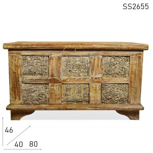 SS2655 Suren Space White Distress Carved Panel Storage Trunk