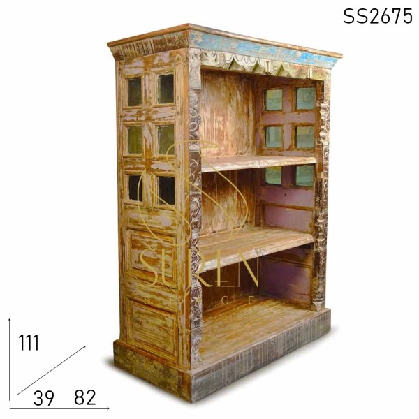 SS2675 Suren Space Old Wood Reclaimed Antique Reproduction Open Bookcase
