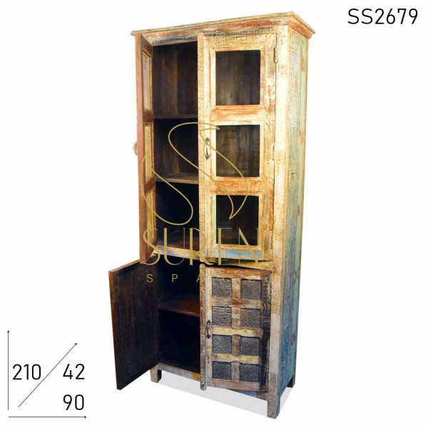SS2679 Suren Space Reclaimed Wood Block Printed Design Almirah Cabinet