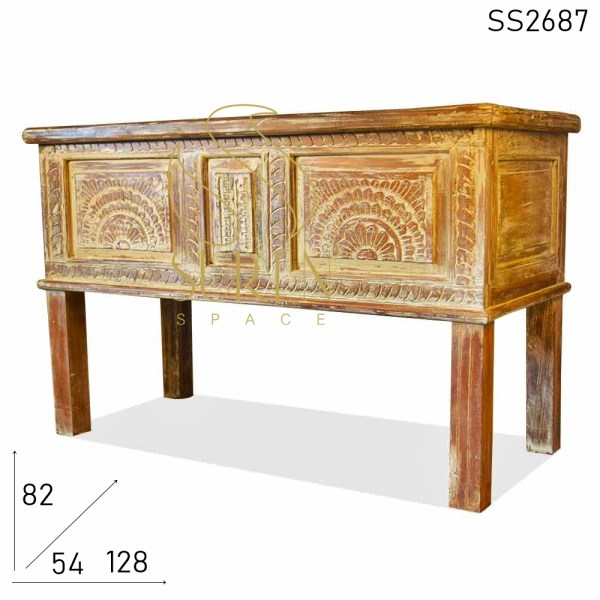 SS2687 Suren Space White Distress Carved Design Trunk
