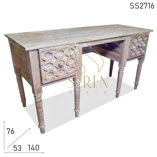SS2716 SUREN SPACE Distress Finish Carved Design Study Table