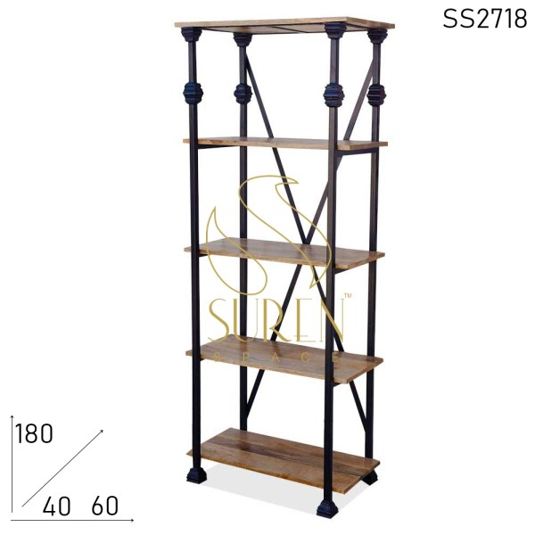 SS2718 Suren Space Industrial Solid Wood Crafted Bookcase