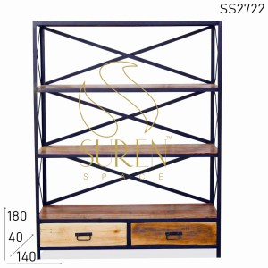 SS2722 Suren Space Two Drawer Industrial Solid Indian Wood Open Bookcase