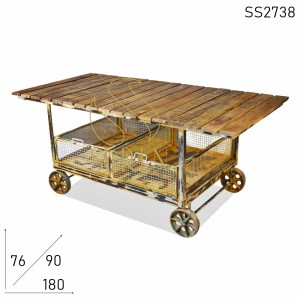 SS2738 Suren Space White Distress Shabby Chic Industrial Trolley Design