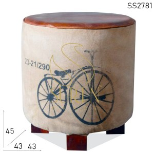 SS2781 SUREN SPACE Cycle Printed Canvas Leather Round Stool