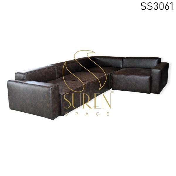 All-Weather Leatherette L Shape Living Room Sofa