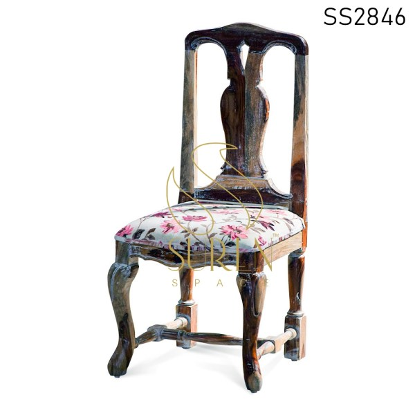 Carved Indian Rosewood Fabric Seating Dining Chair