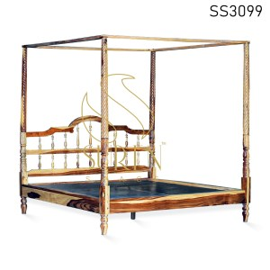 Carved Natural Finish Four Poster Bed