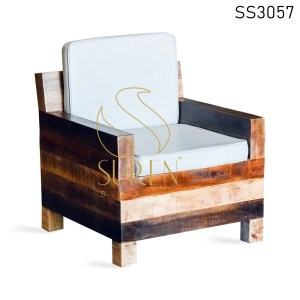 Country Style Solid Wood Single Seater Sofa