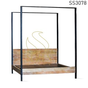 Four Poster Industrial White Distress Bed