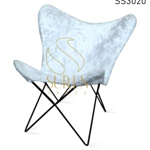 Fur Fabric Metal Stand Industrial Butterfly Rest Chair