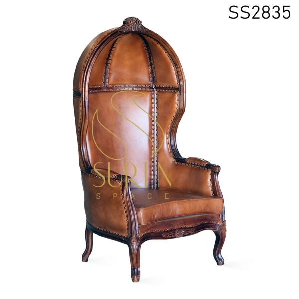 Goat Leather Carved Indian Style Balloon Chair