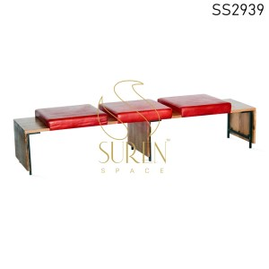 India Acacia Wood leather Seating Three Seater Bench