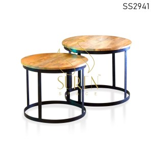 Industrial Mango Wood MS Set of Two Center Table