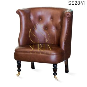 Leatherette Wheel Base Tufted Accent Rest Chair