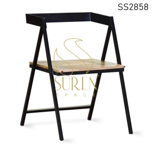 MS Black Finish Wooden Seat Semi Outdoor Chair