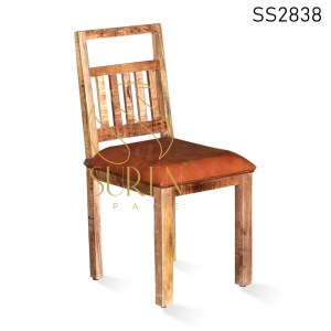 Mango Rough Wood Leather Seat Dining Chair