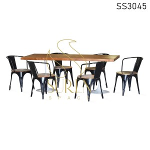 Metal Wooden Seat Casting Table Dining Set