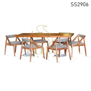 Natural Acacia Wood Leatherette Casting Dining Set