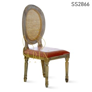 Natural Cane Distress Finish Upholstered Dining Chair