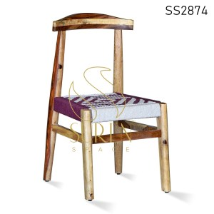 Natural Finish Indian Rosewood Rope Seating Dining Chair