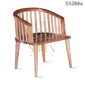 Natural Finish Round Shape Acacia Wood Dining Chair