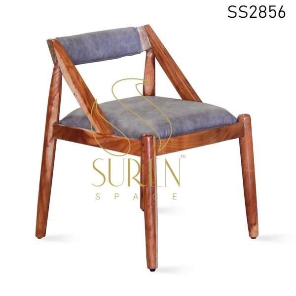 Natural Finish Solid Acacia Wood Upholstered Chair