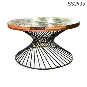 Reclaimed Wood MS Base Round Center Table