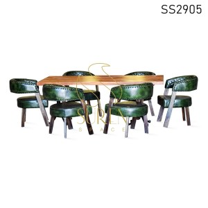 Stitched Genuine Leather Wooden Chair with Casting Table Set