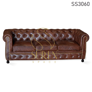 Tufted Chesterfield Genuine Leather Three Seater Sofa
