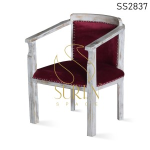 Velvet White Distress Solid Wood Dining Chair