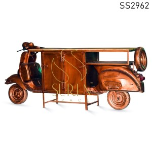 Antique Copper Silver Storage Scooter Display Unit