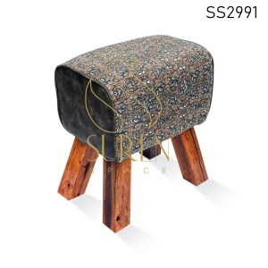 Duel Fabric Upholstered Pouf Stool