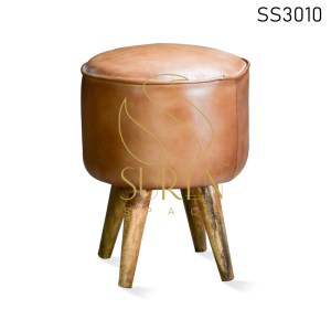 Goat Leather Wooden Stand Round Pouf Stool