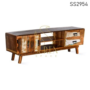 Reclaimed Wood Two Drawers Single Door Entertainment Unit