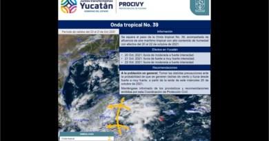 Rachas de viento y lluvias fuertes, se espera para los próximos tres días en Yucatán