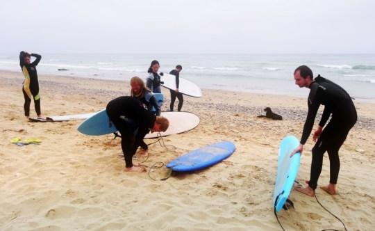 Серферы с досками на пляже | Школа серфинга Surf-Burg