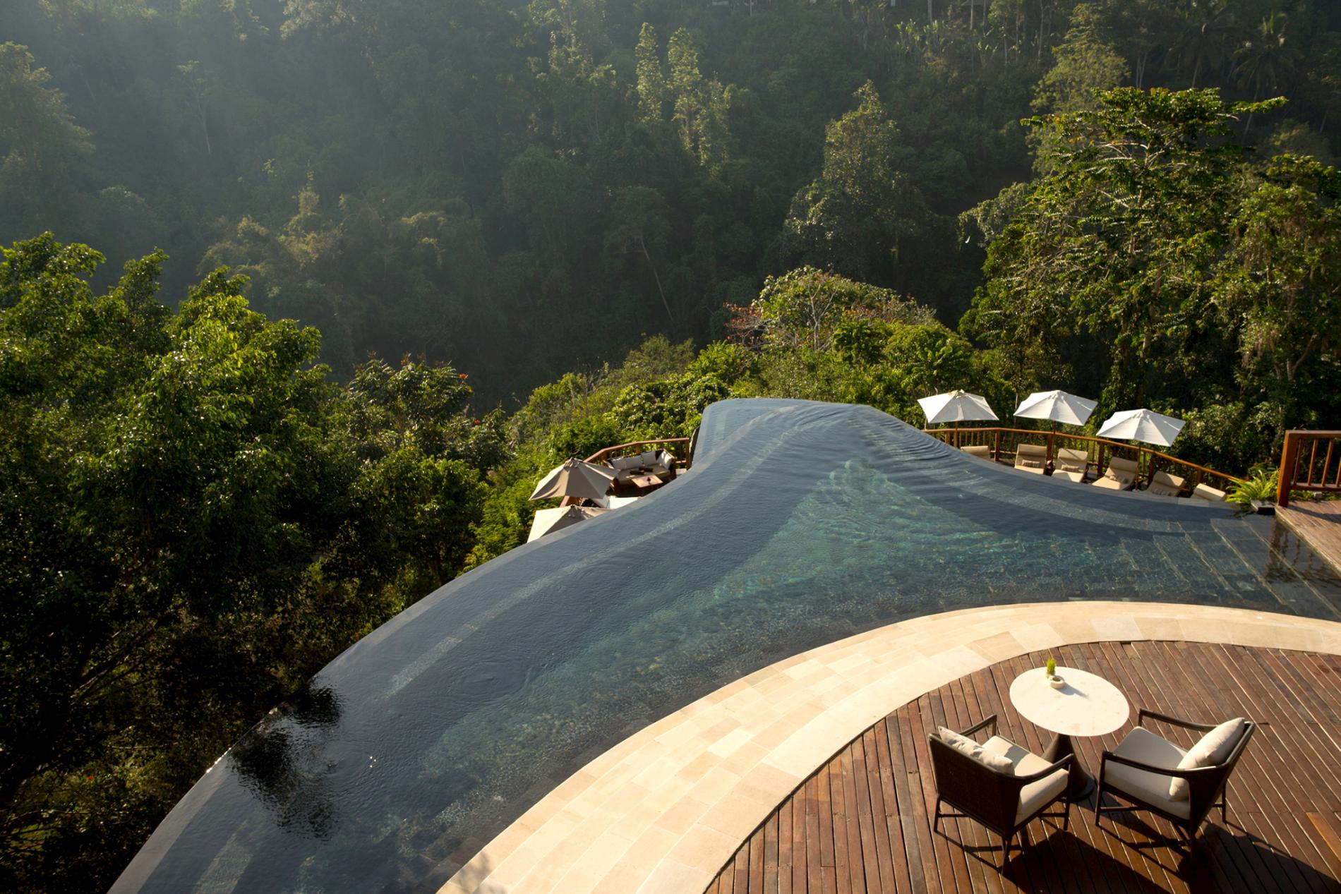 infinity swimming pool in Bali jungle
